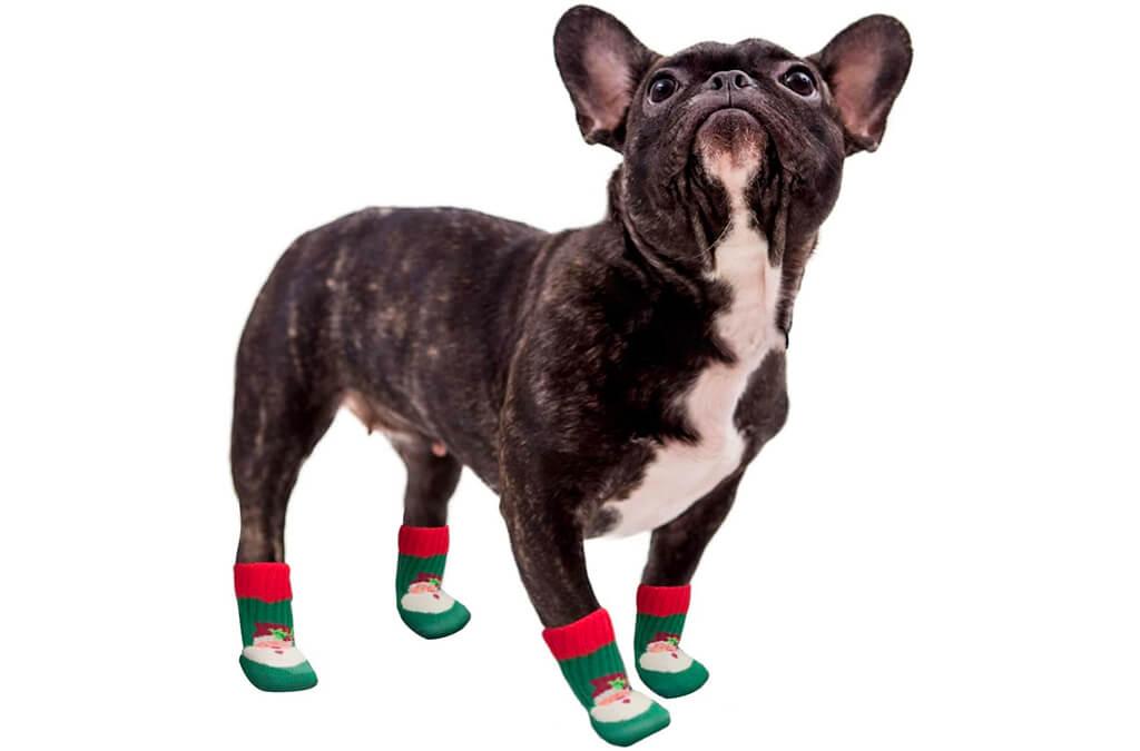 8. kyeese Christmas Dog Socks Anti-Skid